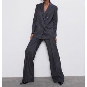 Zara high waisted wide leg trouser wool blend